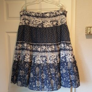 Knee length tiered 100% cotton skirt